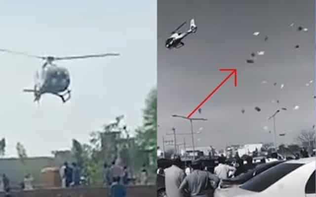Mak oiii…. Gembira adik bongsu kahwin, empat beradik sewa helikopter dan tabur duit puluhan ribu sepanjang jalan