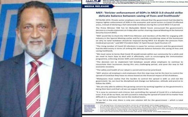 Persekutuan Majikan puji PM sebab tak umum PKP penuh