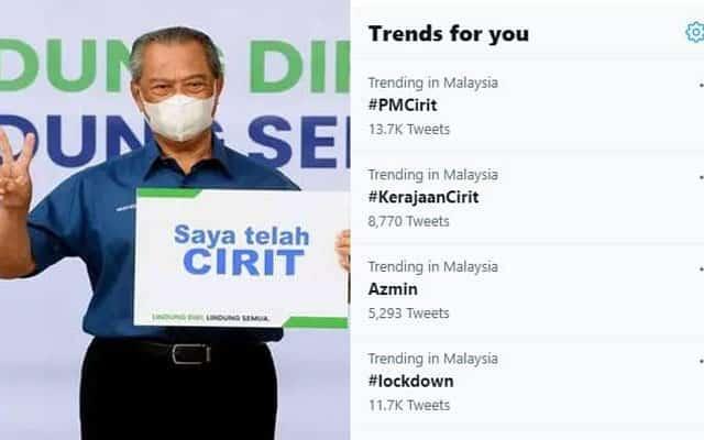 Selepas Muhyiddin cirit, twitter trending #KerajaanCirit