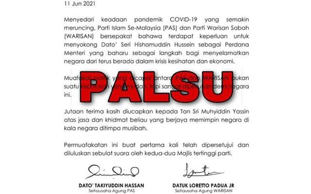 Palsu !!! WARISAN nafi buat kenyataan bersama dengan PAS sokong Hishamuddin sebagai PM