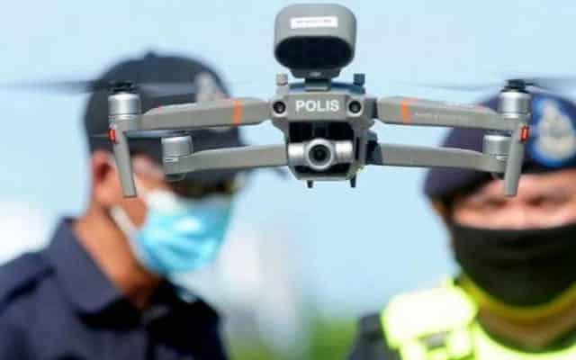 TERKINI !!! Polis pantau suhu individu di tempat awam guna dron