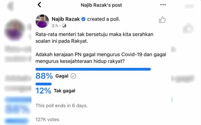 Panas !!! Kerajaan PN gagal atau tidak, Najib buat 'undian rakyat' di FB