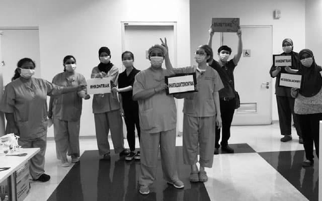 Kempen hari terakhir sokong doktor kontrak, Hospital berubah 'hitam'
